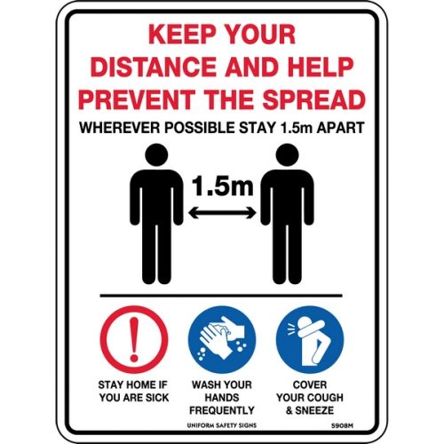 Keep Your Distance & Help Prevent the Spread Sign