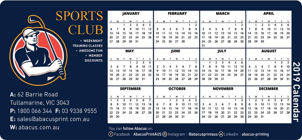 Fridge Magnet Calendar Clubs