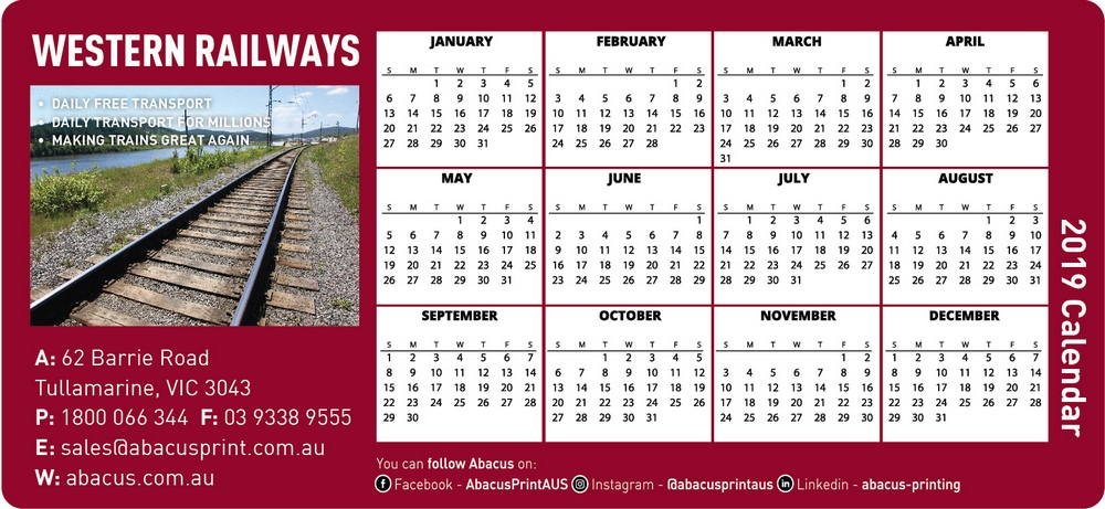 Fridge Magnet Calendar Railways