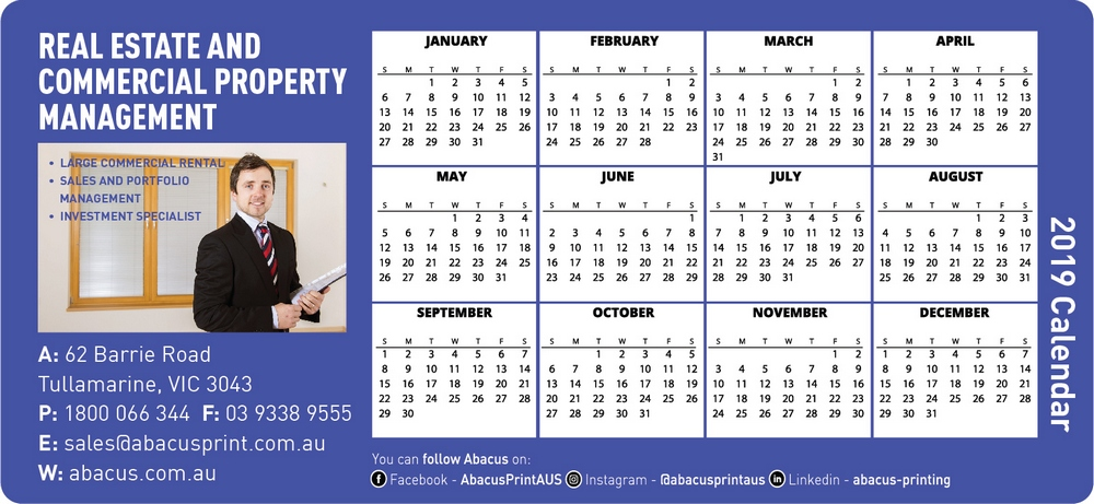 Fridge Magnet Calendar Real Estate
