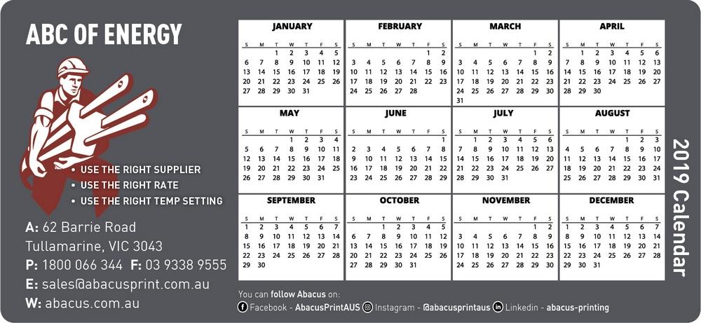 Fridge Magnet Calendar Energy