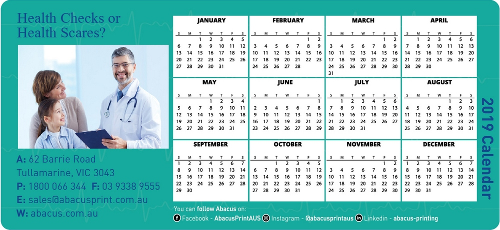 Fridge Magnet Calendar Healthcare