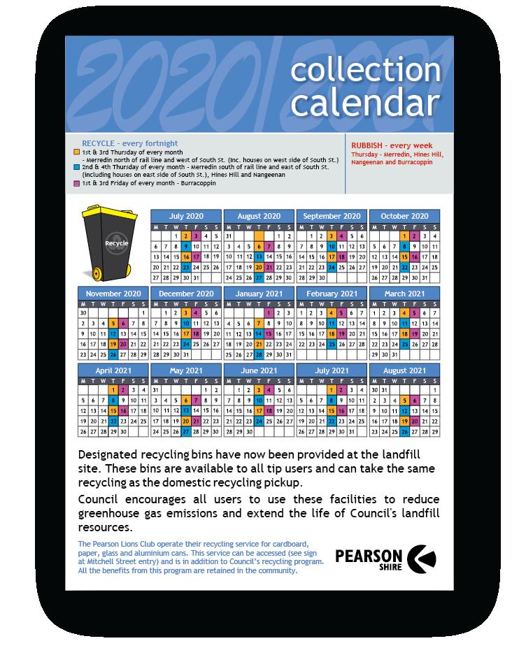 Recycling Calendars Pickup date